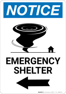 Notice: Emergency Shelter Left Arrow with Icon Portrait