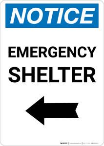 Notice: Emergency Shelter Left Arrow Portrait