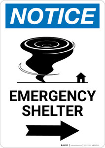 Notice: Emergency Shelter Right Arrow with Icon Portrait