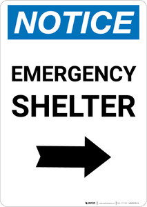 Notice: Emergency Shelter Right Arrow Portrait