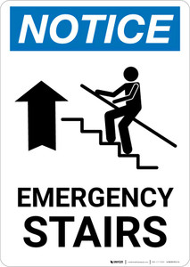 Notice: Emergency Stairs with Arrow Portrait