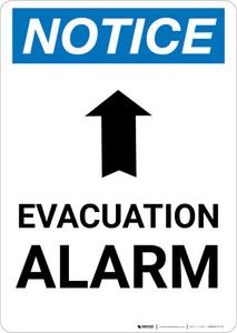 Notice: Evacuation Alarm with Arrow Portrait