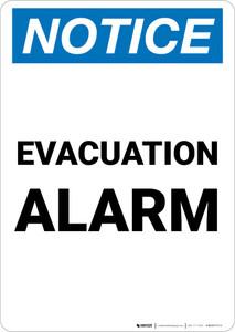 Notice: Evacuation Alarm Portrait