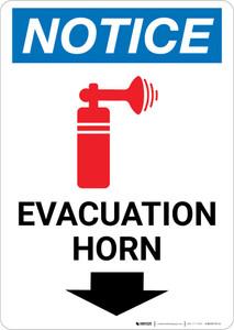Notice: Evacuation Horn Down Arrow with Icon Portrait