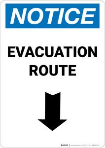 Notice: Evacuation Route Down Arrow Portrait