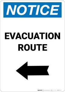Notice: Evacuation Route Left Arrow Portrait
