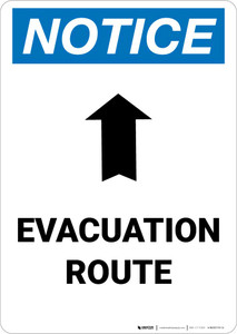 Notice: Evacuation Route with Arrow Portrait