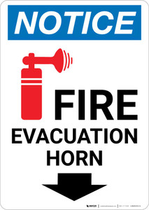 Notice: Fire Evacuation Horn Down Arrow with Icon Portrait
