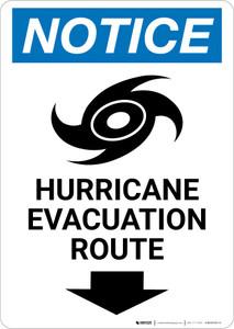 Notice: Hurricane Evacuation Route Down Arrow with Icon Portrait