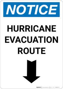 Notice: Hurricane Evacuation Route Down Arrow Portrait