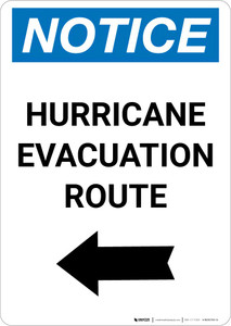 Notice: Hurricane Evacuation Route Left Arrow Portrait