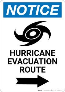 Notice: Hurricane Evacuation Route Right Arrow with Icon Portrait