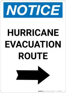 Notice: Hurricane Evacuation Route Right Arrow Portrait