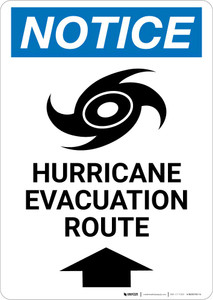 Notice: Hurricane Evacuation Route Up Arrow with Icon Portrait