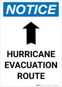 Notice: Hurricane Evacuation Route Up Arrow Portrait