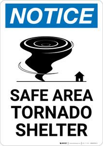 Notice: Safe Area Tornado Shelter Portrait