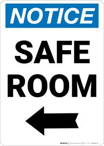Notice: Safe Room Left Arrow Portrait