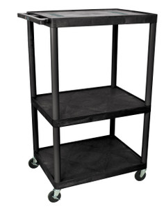 Luxor Black Endura 3 Shelf A/V Cart