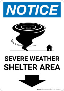 Notice: Severe Weather Shelter Area Down Arrow Portrait
