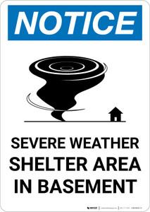 Notice: Severe Weather Shelter Area In Basement Portrait