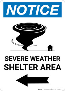 Notice: Severe Weather Shelter Area Left Arrow Portrait