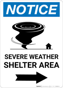 Notice: Severe Weather Shelter Area Right Arrow Portrait