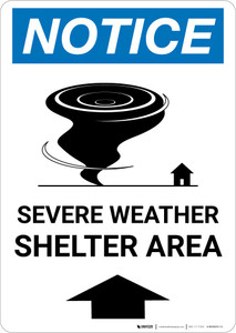 Notice: Severe Weather Shelter Area Up Arrow Portrait