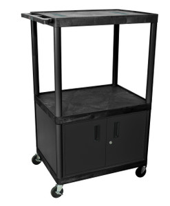 Luxor Black Endura 3 Shelf A/V Cart W/ Cabinet