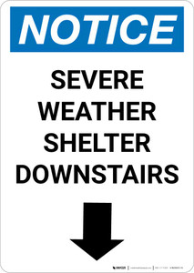 Notice: Severe Weather Shelter Downstairs Down Arrow Portrait