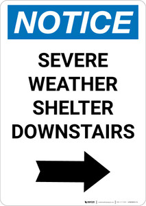 Notice: Severe Weather Shelter Downstairs Right Arrow Portrait