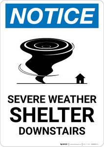 Notice: Severe Weather Shelter Downstairs with Icon Portrait