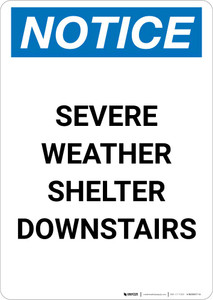 Notice: Severe Weather Shelter Downstairs Portrait