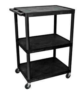 Luxor Black Endura 3 Shelf Cart