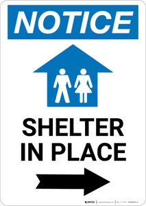 Notice: Shelter In Place Right Arrow with Icon Portrait