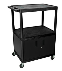 Luxor Black Endura 3 Shelf Cart W/ Cabinet