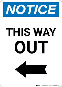 Notice: This Way Out Right Arrow Portrait