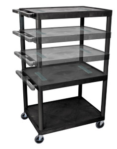 Luxor Black Endura Multi-Height 3 Shelf A/V Cart