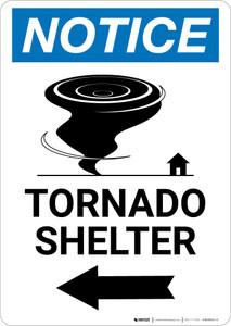 Notice: Tornado Shelter Left Arrow with Icon Portrait