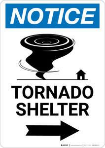 Notice: Tornado Shelter Right Arrow with Icon Portrait