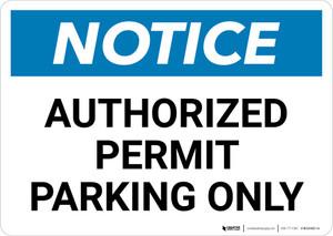 Notice: Authorized Permit Parking Only Landscape