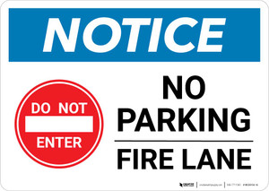 Notice: No Parking - Fire Lane with Do Not Enter Icon Landscape