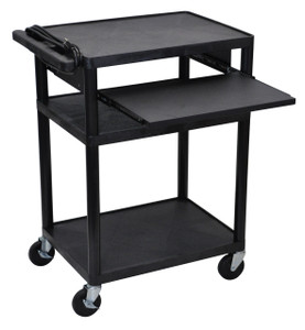 "Luxor Endura Black 3 Shelf Presentation Cart 34"" H with Pull Out Shelf"
