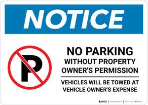 Notice: No Parking Without Property Owner's Permission Landscape