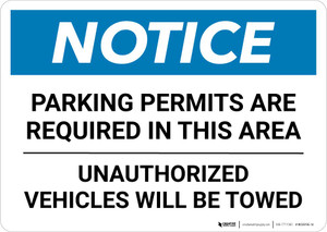 Notice: Parking Permits Are Required In This Area - Unauthorized Vehicles Will Be Towed Landscape