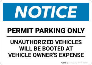 Notice: Permit Parking Only - Unauthorized Vehicles Booted At Vehicle Owner's Expense Landscape