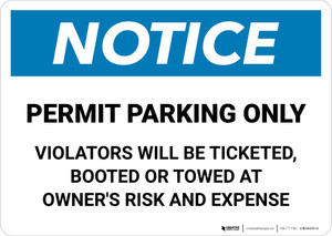 Notice: Permit Parking Only - Violators Will Be Ticketed/Booted/Or Towed Landscape