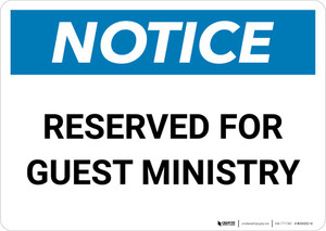 Notice: Reserved for Guest Ministry Landscape
