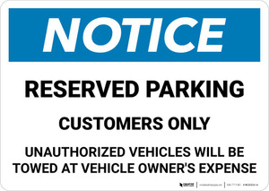 Notice: Reserved Parking - Customers Only Landscape