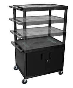 Luxor Black Endura Presentation Cart Multi Height W/ Cabinet