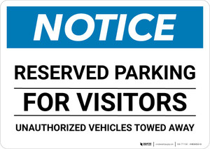 Notice: Reserved Parking for Visitors - Unauthorized Vehicles Towed Away Landscape